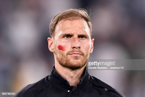 Benedikt Howedes of Juventus in action during the serie A match between Juventus and SSC Napoli on April 22 2018 in Turin Italy