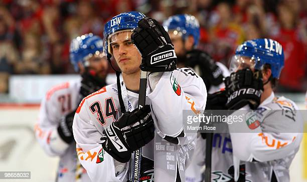 Benedikt Kohl of Augsburg looks dejected after losing the DEL play off final match between Hannover Scorpions and Augsburger Panther at TUI Arena on...