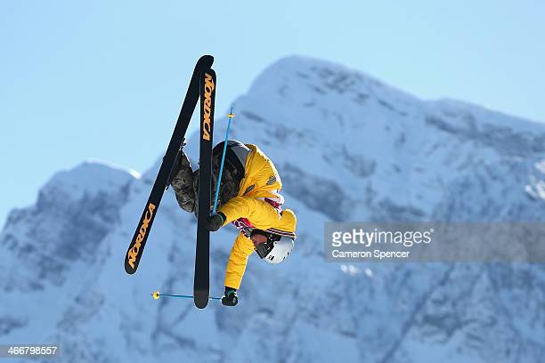 Benedikt Mayr of Germany trains during a Ski Slopestyle practice at the Extreme Park at Rosa Khutor Mountain ahead of the Sochi 2014 Winter Olympics...