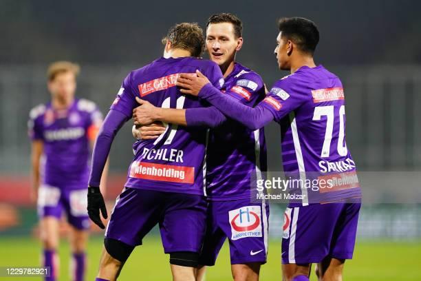 Benedikt Pichler of Austria Wien, Stephan Zwierschitz of Austria Wien and Manprit Sakaria of Austria Wien celebrate a goal during the Uniqa OeFB Cup...