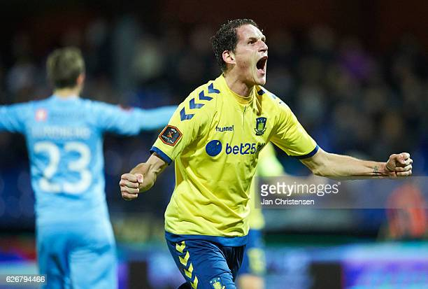 Benedikt Röcker of Brondby IF celebrate after the Danish Alka Superliga match between Randers FC and Brondby IF at BioNutria Park Randers on November...