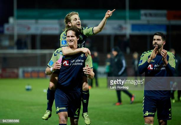 Benedikt Rocker and Kasper Fisker of Brondby IF celebrate after the Danish DBU Pokalen Cup quarterfinal match between Sonderjyske and Brondby IF at...