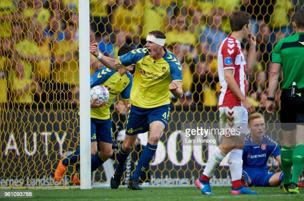 Benedikt Rocker of Brondby IF celebrates after scoring their first goal during the Danish Alka Superliga match between Brondby IF and AaB Aalborg at...