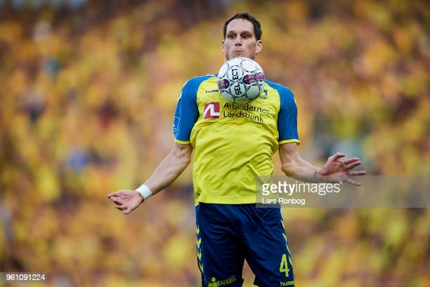 Benedikt Rocker of Brondby IF controls the ball during the Danish Alka Superliga match between Brondby IF and AaB Aalborg at Brondby Stadion on May...