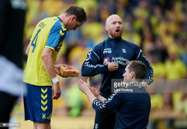Benedikt Rocker of Brondby IF receiving treatment for a blood injury during the Danish Alka Superliga match between Brondby IF and AaB Aalborg at...