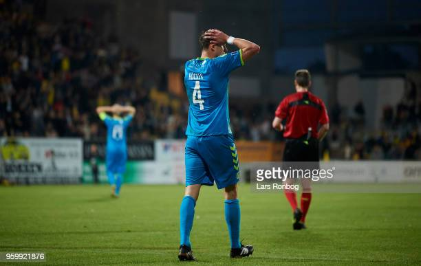 Benedikt Rocker of Brondby IF shows frustration during the Danish Alka Superliga match between AC Horsens and Brondby IF at CASA Arena Horsens on May...