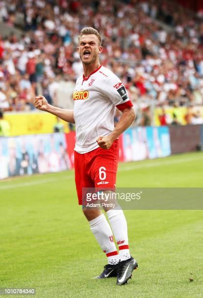 Benedikt Saller of Jahn Regensburg celebrates scoring a goal during the Second Bundesliga match between SSV Jahn Regensburg and FC Ingolstadt 04 at...