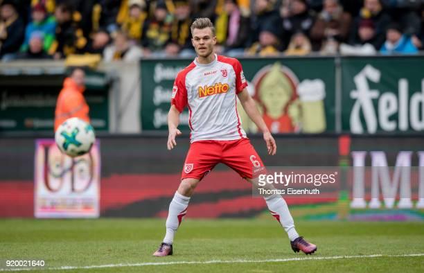 Benedikt Saller of Regensburg plays the ball during the Second Bundesliga match between SG Dynamo Dresden and SSV Jahn Regensburg at DDVStadion on...