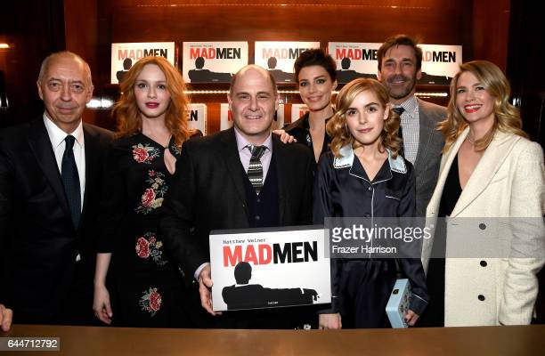Benedikt Taschen actor Christina Hendricks creator/writer Matthew Weiner actors Jessica Pare Kiernan Shipka Jon Hamm and January Jones attend the...