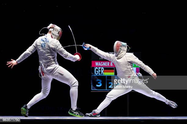 Benedikt Wagner of Germany fences Vincent Anstett of France during semifinal competition at the SK Telecom Seoul Sabre Grand Prix on April 1st 2017...