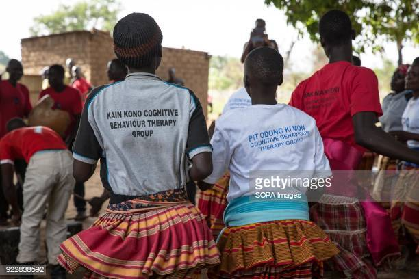 Beneficiaries of the ICC's Trust Fund for Victims dance in Awach during a monitoring visit by senior officials from The Hague