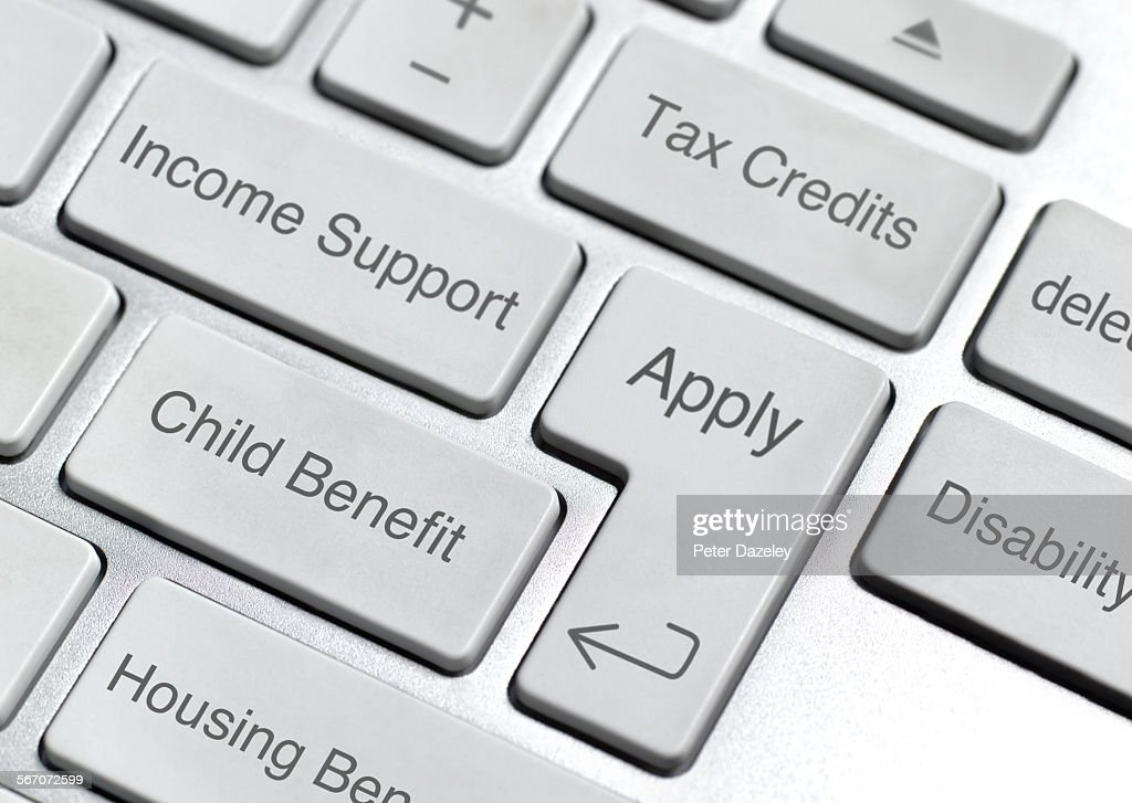 Benefit and social security keyboard : Stock Photo