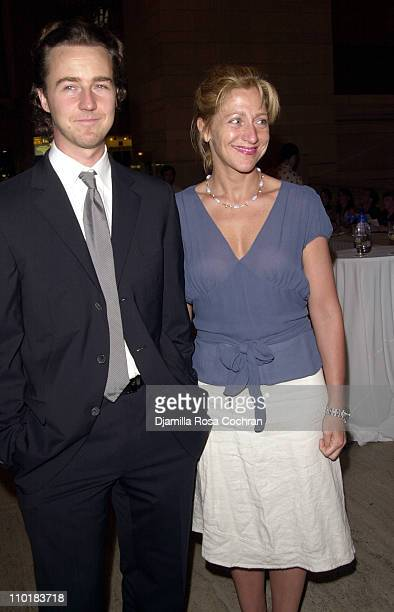 """Benefit Co-chair Edward Norton and Edie Falco during Friends of the High Line Party to Celebrate """"Designing the High Line"""" at Vanderbilt Hall, Grand..."""