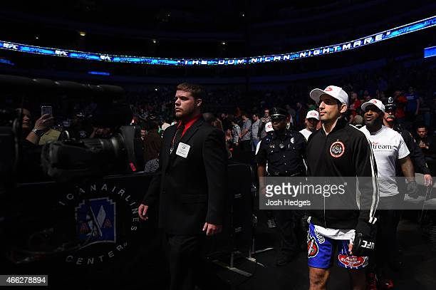 Beneil Dariush enters the arena before facing Daron Cruickshank in their lightweight bout during the UFC 185 event at the American Airlines Center on...