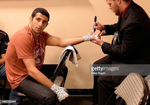 Beneil Dariush gets his hands wrapped in the locker room during the UFC 185 event at the American Airlines Center on March 14 2015 in Dallas Texas