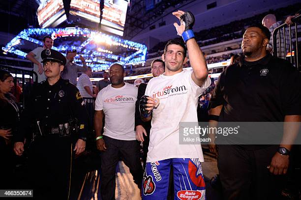 Beneil Dariush interacts with fans after defeating Daron Cruickshank during the UFC 185 event at the American Airlines Center on March 14 2015 in...