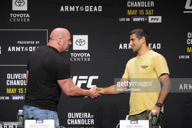 Beneil Dariush meets with the press and the fans during the official press conference for UFC 262 on May 13 at George R Brown Convention Center in...
