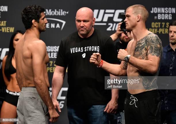 Beneil Dariush of Iran and Evan Dunham face off during the UFC 216 weighin inside TMobile Arena on October 6 2017 in Las Vegas Nevada