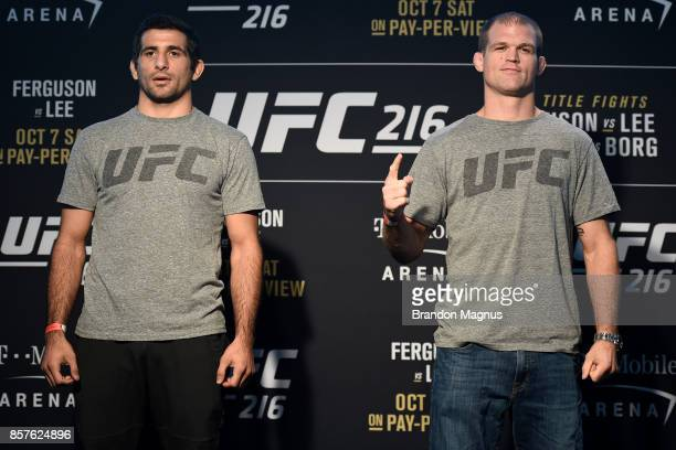 Beneil Dariush of Iran and Evan Dunham pose for the media the UFC 216 Ultimate Media Day on October 4 2017 in Las Vegas Nevada