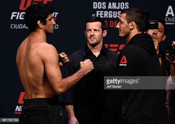 Beneil Dariush of Iran and Rashid Magomedov of Russia face off during the UFC weigh-in at the Arena Ciudad de Mexico on November 4, 2016 in Mexico...