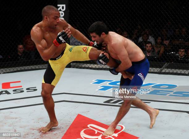 Beneil Dariush of Iran attempts to take down Edson Barboza of Brazil in their lightweight bout during the UFC Fight Night event at CFO Centro de...