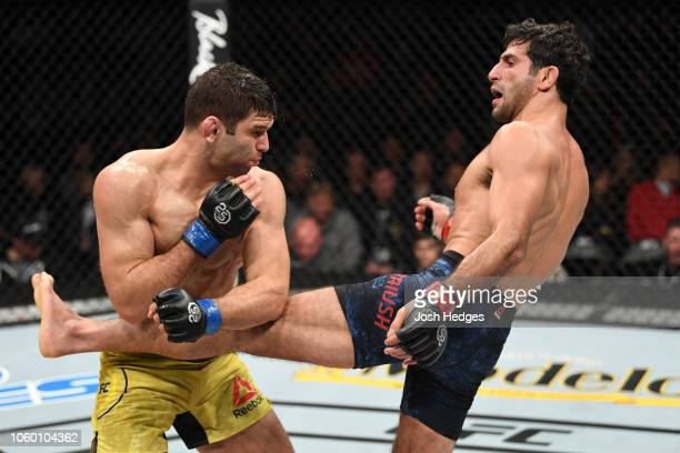 Beneil Dariush of Iran kicks the body of Thiago Moises of Brazil in their lightweight bout during the UFC Fight Night event inside Pepsi Center on...