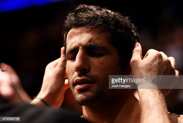 Beneil Dariush of Iran prepares for his lightweight bout against Jim Miller during the UFC Fight Night event at Prudential Center on April 18 2015 in...