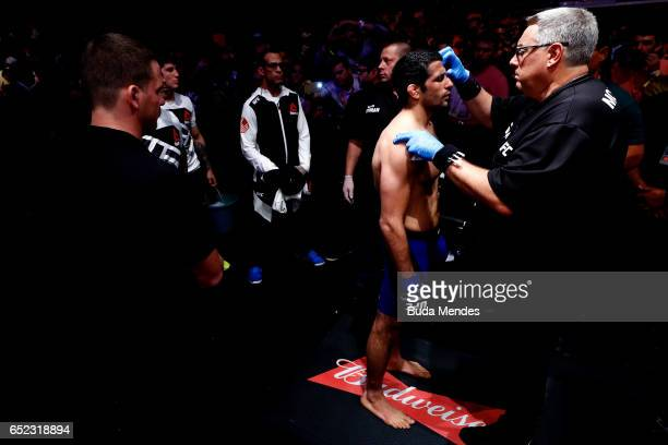 Beneil Dariush of Iran prepares to enter the Octagon prior to his lightweight bout against Edson Barboza of Brazil during the UFC Fight Night event...
