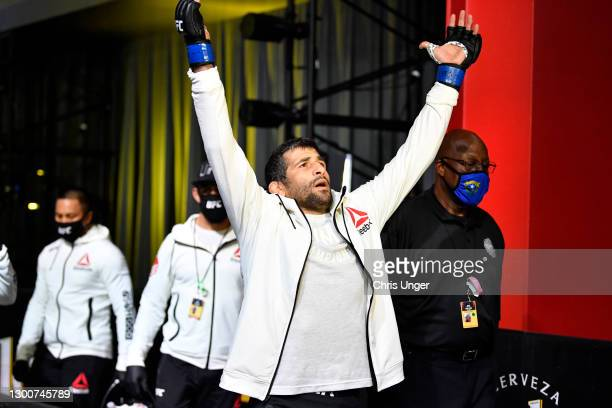 Beneil Dariush of Iran prepares to fight Diego Ferreira of Brazil in their lightweight fight during the UFC Fight Night event at UFC APEX on February...