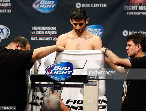 Beneil Dariush of Iran weighs in during the UFC Fight Night weigh-in at the BOK Center on August 22, 2014 in Tulsa, Oklahoma.