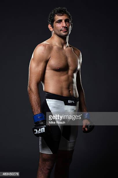 Beneil Dariush poses for a post fight portrait backstage during the UFC Fight Night event at Bridgestone Arena on August 8 2015 in Nashville Tennessee