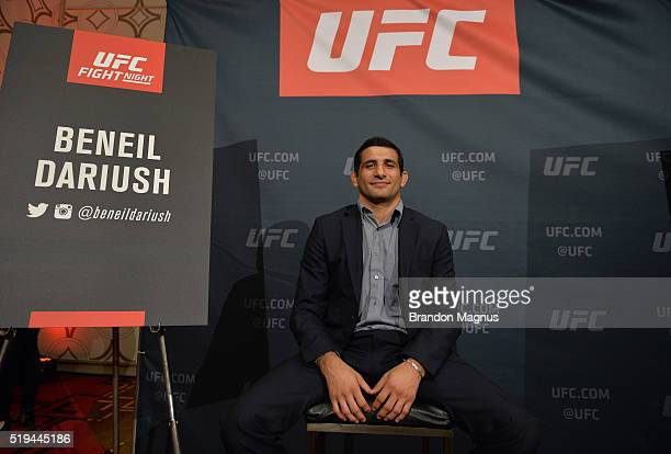 Beneil Dariush speaks to the media during the UFC 199 Rockhold v Weidman 2 Los Angeles Media Day in the JW Marriott Los Angeles at LA LIVE on April 6...