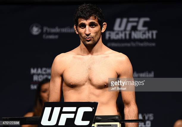 Beneil Dariush steps on the scale during the UFC Fight Night weigh-in event at the Prudential Center on April 17, 2015 in Newark, New Jersey.