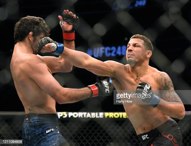 Beneil Dariush takes a punch from Drakkar Klose, in Dariush a knockout win, during UFC 248 at T-Mobile Arena on March 07, 2020 in Las Vegas, Nevada.