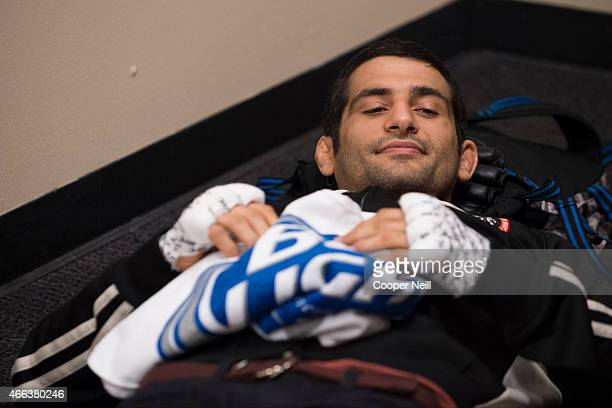 Beneil Dariush waits backstage before his fight against Daron Cruickshank during UFC 185 at the American Airlines Center on March 14 2015 in Dallas...