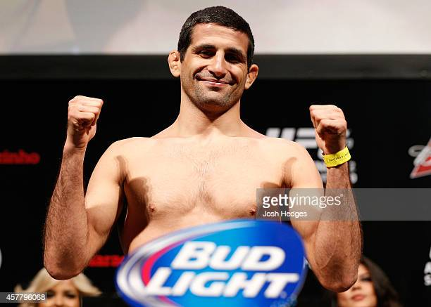 Beneil Dariush weighs in during the UFC 179 weighin at the Maracanãzinho Gymnasium on October 24 2014 in Rio de Janeiro Brazil