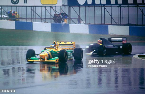 Benetton B193A Michael Schumacher and KWendlinger in Sauber Ilmor 1993 Euro GP at Donington Artist Unknown