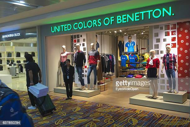 Benetton clothes shop in the Duty free shopping area in Yangon International Airport on December 17 2016 in Yangon Burma