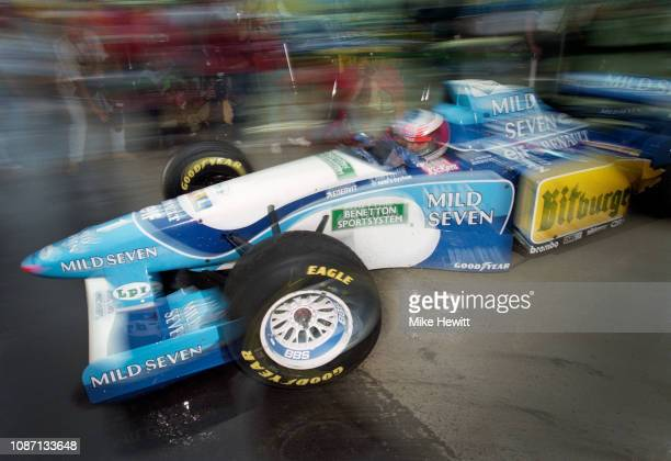 Benetton driver Michael Schumacher of Germany in action during practice for the Formula One Argentinian Grand Prix on April 7 1995 in Buenos Aires...