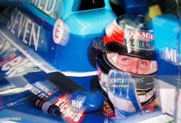 Benetton driver Michael Scumacher of Germany gestures during qualifying for the Japanese Grand Prix at the Suzuka circuit on October 28 1995...