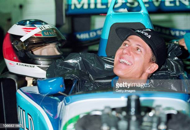 Benetton driver Michael Scumacher of Germany in relaxed mood during a Formula One testing session at the Paul Ricard circuit on February 1 1995