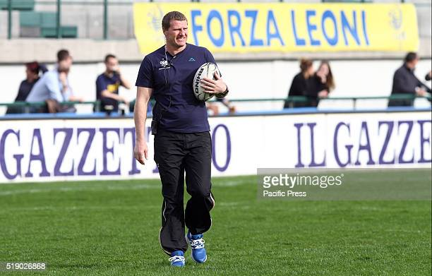 Benetton Treviso Head Coach Marius Goosen looks during Rugby Guinness Pro12 match between Benetton Treviso and Glasgow Warriors Glasgow Warriors...