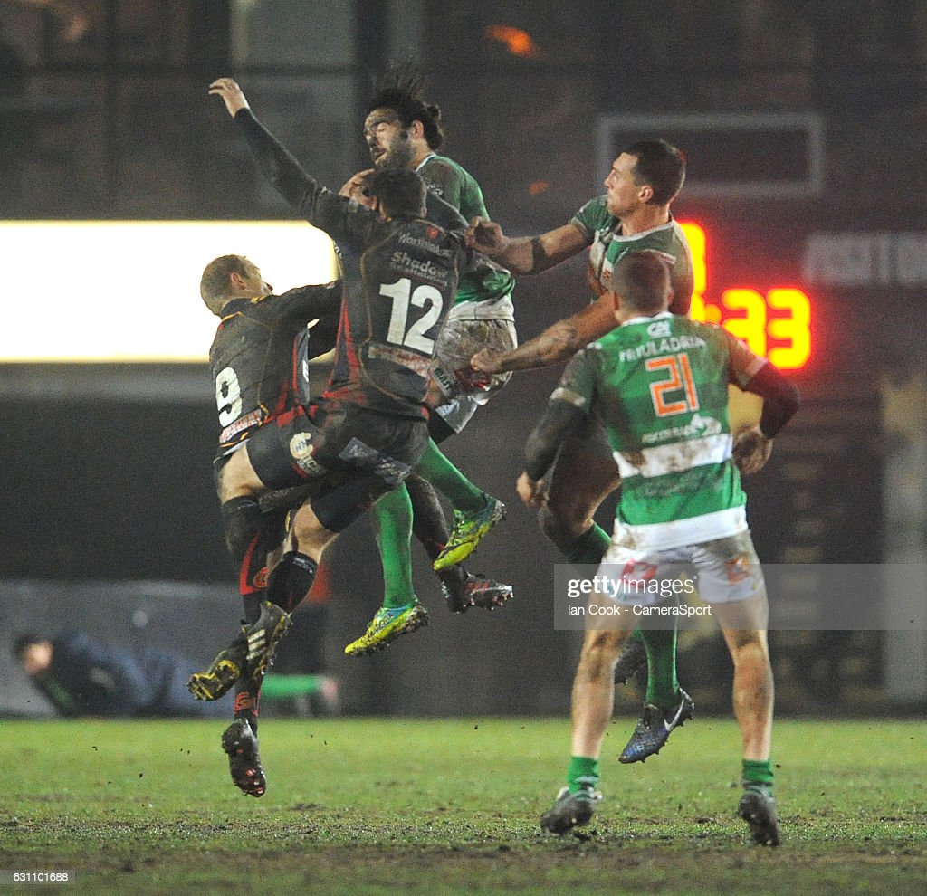 Benetton Treviso's Luke McLean catches the high ball during the Guinness PRO12 Round 13 match between Newport Gwent Dragons and Benetton Rugby Treviso at Rodney Parade on January 6, 2017 in Newport, Wales.