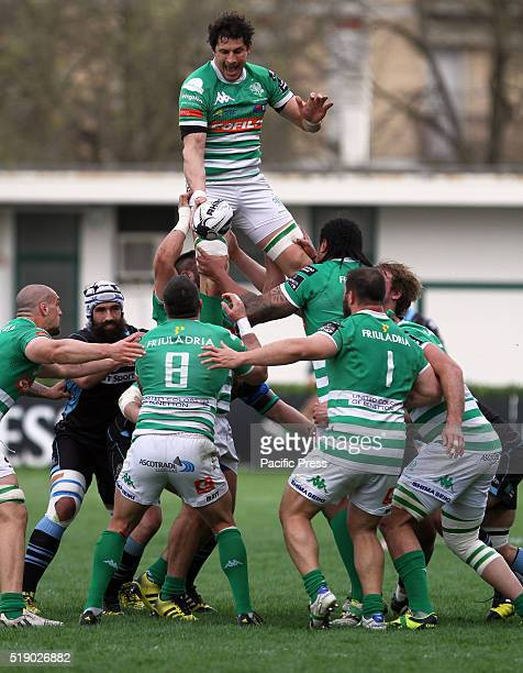Benetton Treviso's player Alessandro Zanni jump for the ball during Rugby Guinness Pro12 match between Benetton Treviso and Glasgow Warriors Glasgow...