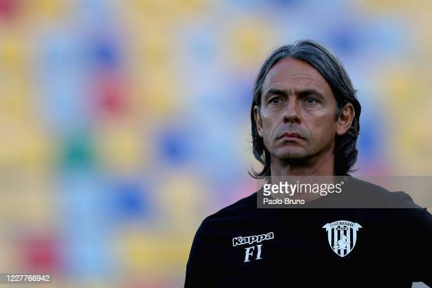 Benevento Calcio head coach Filippo Inzaghi looks on during the serie B match between Frosinone Calcio and Benevento Calcio at Stadio Benito Stirpe...