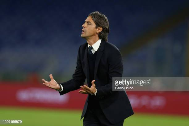 Benevento Calcio head coach Filippo Inzaghi reacts during the Serie A match between AS Roma and Benevento Calcio at Stadio Olimpico on October 18,...