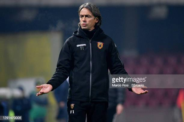 Benevento Calcio head coach Filippo Inzaghi reacts during the Serie A match between Benevento Calcio and SS Lazio at Stadio Ciro Vigorito on December...