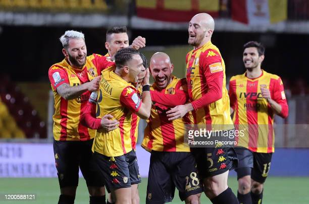 Benevento Calcio players celebrate the 1-0 goal scored by Massimo Coda during the Serie B match between Benevento Calcio and Pisa at Stadio Ciro...