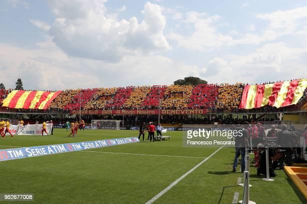 Benevento Calcio supporters cheer their team before the serie A match between Benevento Calcio and Udinese Calcio at Stadio Ciro Vigorito on April 29...