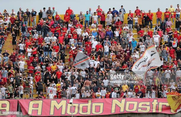 Benevento Calcio supporters cheer their team during the serie A match between Benevento Calcio and Udinese Calcio at Stadio Ciro Vigorito on April 29...